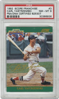 Baseball Cards:Singles (1970-Now), 1992 Score Franchise Carl Yastrzemski #3 PSA NM-MT 8. One of alimited-edition of 1861, this Yaz card from the 1992 Score F...