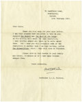 """Autographs:Authors, J. R. R. Tolkien Typed Letter Signed""""J. R. R. Tolkien,"""" one page, 8"""" x 10"""". Oxford, February 17, 1963. With original env... (Total: 1 Item)"""