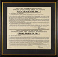 """Autographs:U.S. Presidents, Dwight D. Eisenhower 1945 Proclamation No. 1 to the People ofGermany Signed """"Dwight D. Eisenhower,"""" 20.5"""" x 19.5""""visib... (Total: 1 Item)"""