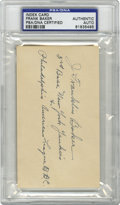"Autographs:Index Cards, Frank Home Run Baker Index Card, PSA Authentic. What a feat to begiven the nickname ""Home Run"" in an era when the long bal..."