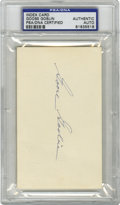 Autographs:Index Cards, Goose Goslin Signed Index Card, PSA Authentic. An artist with the lumber, Goose Goslin was known for his prowess in the pos...