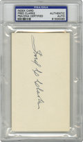 Autographs:Index Cards, Fred Clarke Signed Index Card, PSA Authentic. Hall of Famer Fred C. Clarke used his knowledge and prowess to become one of ...