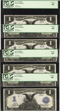 Large Size:Silver Certificates, Fr. 233 $1 1899 Silver Certificates Cut Sheet of Four PCGS Gem New 65.... (Total: 4 notes)