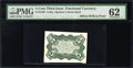 Fractional Currency:Third Issue, Milton 3E5R.1a 5¢ Third Issue Bristol Board Green Back PMGUncirculated 62....