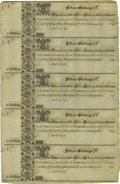 Colonial Notes:Maryland, Maryland 1733 15s Uncut Sheet of Five About New....