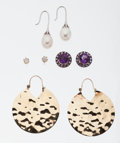 Estate Jewelry:Earrings, Multi-Stone, Gold Earrings. ... (Total: 4 Items)