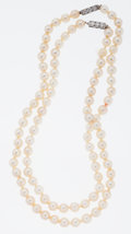 Estate Jewelry:Pearls, Cultured Pearl, Diamond White Gold Necklaces. ...