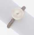 Estate Jewelry:Rings, Cultured Pearl, Diamond, White Gold Ring, Effy. ...