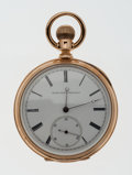 Timepieces:Pocket (post 1900), Elgin 18k Gold Open Face Pocket Watch. ...