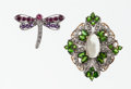 Estate Jewelry:Brooches - Pins, Multi-Stone, Gold Brooches. ... (Total: 2 Items)