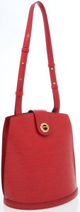 Luxury Accessories:Bags, Louis Vuitton Red Epi Leather Cluny Shoulder Bag. ...