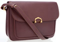 Luxury Accessories:Bags, Cartier Burgundy Leather Shoulder Bag with Gold Hardware. ...