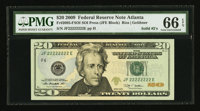 Solid Serial Number JF22222222E Fr. 2095-F $20 2009 Federal Reserve Note. PMG Gem Uncirculated 66 EPQ