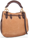 Luxury Accessories:Bags, Miu Miu Brown Leather Bi-Color Tote Bag with Shoulder Strap. ...
