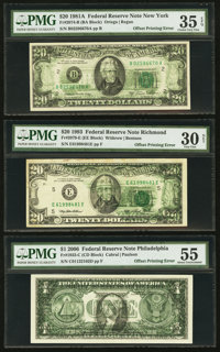 Fr. 1933-C $1 2006 Federal Reserve Note. PMG About Uncirculated 55; Fr. 2074-B $20 1981A Federal Reserve Note. PMG Choic...