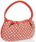 Luxury Accessories:Bags, Sonia Rykiel Blood Orange Leather Mini Hobo Bag with Silver Disks....