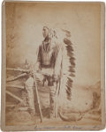"American Indian Art:Photographs, ""CROW WARRIOR IN FULL DRESS,"" ALBUMEN PHOTO BY O. S. GOFF TAKEN ATFORT CUSTER, MONTANA..."