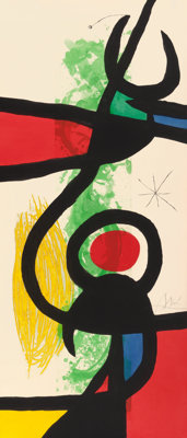 JOAN MIRÓ (Spanish, 1893-1983) Les Grandes Manoeuvres, 1973 Etching and aquatint in colors with carb