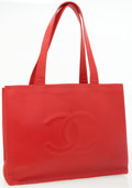 Luxury Accessories:Bags, Chanel Large Red Caviar Leather Classic Tote Bag. ...