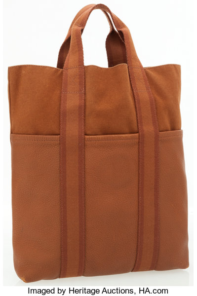 73569f1d118a Hermes Brown Canvas   Leather Kabasu Tote Bag. ... Luxury