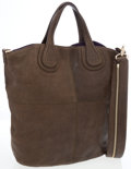 Luxury Accessories:Bags, Givenchy Olive Green Distressed Leather Nightingale North SouthTote Bag . ...