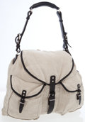 Luxury Accessories:Bags, Balenciaga Natural Linen & Black Leather Hobo Bag. ...