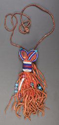 American Indian Art:Beadwork and Quillwork, A CROW BEADED HIDE AMULET NECKLACE. c. 1875...
