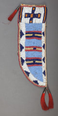 American Indian Art:Beadwork and Quillwork, A SIOUX BEADED HIDE KNIFE SHEATH. c. 1890...