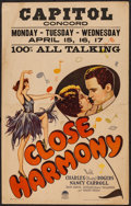 "Movie Posters:Musical, Close Harmony (Paramount, 1929). Window Card (14"" X 22""). Musical.. ..."