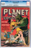 Golden Age (1938-1955):Science Fiction, Planet Comics #23 (Fiction House, 1943) CGC FN- 5.5 Off-white towhite pages....