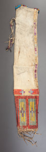 American Indian Art:Beadwork and Quillwork, A SIOUX QUILLED AND BEADED HIDE TOBACCO BAG. c. 1880...