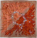 """Luxury Accessories:Accessories, Hermes Red, Pink & Taupe """"Eva,"""" by Philippe Dumas Silk Scarf...."""