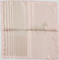 """Luxury Accessories:Accessories, Hermes Pale Pink & Tan """"H au Gallop,"""" by Bali Barret SilkPocket Square. ..."""