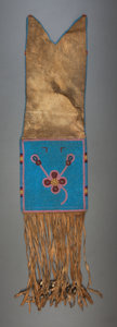 American Indian Art:Beadwork and Quillwork, A BLACKFOOT BEADED HIDE TOBACCO BAG. c. 1900...