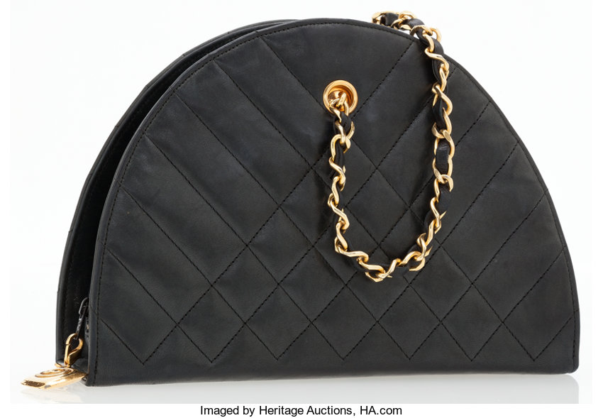 f93ee1ce8495 Luxury Accessories:Bags, Chanel Black Quilted Lambskin Leather Half Moon Camera  Bag.