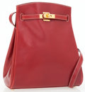 Luxury Accessories:Bags, Hermes Rouge H Epsom Leather Kelly Sport Bag with Gold Hardware....