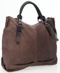Luxury Accessories:Bags, Henry Beguelin Dark Brown Leather Tote Bag with Shoulder Strap. ...