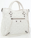 Luxury Accessories:Bags, Balenciaga White Leather Textured Tote Bag. ...