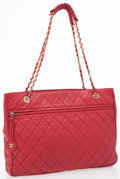 Luxury Accessories:Bags, Chanel Red Quilted Lambskin Leather Tote Bag. ...