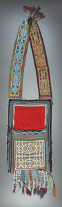 American Indian Art:Beadwork and Quillwork, A CHIPPEWA LOOM-WOVEN BANDOLIER BAG. c. 1875...