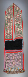 American Indian Art:Beadwork and Quillwork, A CHIPPEWA LOOM-WOVEN BANDOLIER BAG. c. 1890...