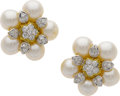 Estate Jewelry:Earrings, Cultured Pearl, Diamond, Gold Earrings. ...