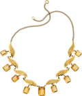 Estate Jewelry:Necklaces, Citrine, Gold, Metal Necklace. ...