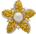 Estate Jewelry:Brooches - Pins, Cultured Pearl, Diamond, Gold Pendant-Brooch. ...