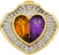 Estate Jewelry:Brooches - Pins, Amethyst, Citrine, Diamond, Gold Pendant-Brooch. ...