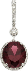Estate Jewelry:Pendants and Lockets, Garnet, Diamond, White Gold Pendant . ...
