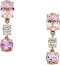 Estate Jewelry:Earrings, Kunzite, Diamond, Gold Earrings. ...