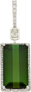 Estate Jewelry:Pendants and Lockets, Green Tourmaline, Diamond, White Gold Pendant. ...