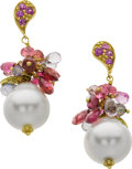 Estate Jewelry:Earrings, South Sea Cultured Pearl, Multi-Stone, Gold Earrings, MaryaDabrowski. ...