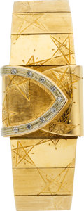 Estate Jewelry:Watches, Omega Lady's Diamond, Gold Covered Dial Wristwatch. ...